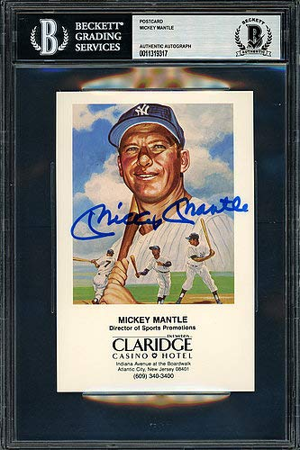 Mickey Mantle Autographed Memorabilia Claridge Casino Postcard New York Yankees - Beckett Authentic from Sports Collectibles Online