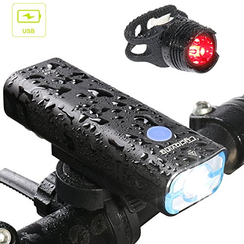 Cycloving Rechargeable LED Bike Light. Perfect Commuter Bicycle Headlight Tail Light, Water Resistant Front and Back Rear Light, Easy to Install and Fits All Bikes