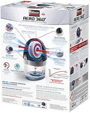 Rubson AERO 360º Déshumidificateur d'air pour la maison, absorbeur d'humidité et anti odeurs pour pièces de 20 m², inclus 1 recharge neutre de 450 g