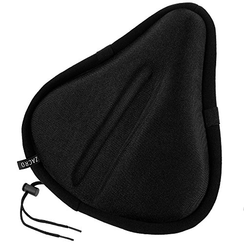 Zacro Exercise Bike Seat, Big Size Soft Wide Gel Bicycle Cushion for Bike Saddle, Comfortable Cover Fits Cruiser and Stationary Bikes, Indoor Cycling, Spinning with Waterproof Cover, Black