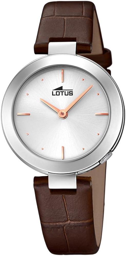 Lotus Reloj para de Cuarzo con Correa en Cuero Genuino 18483/1