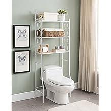 White Metal 3-shelf Bathroom Space Saver Storage Organizer Over the Rack Toilet Cabinet Shelving Towel Rack with Circle Design