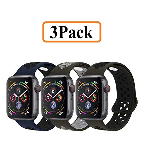 YC YANCH Greatou Compatible for Apple Watch Band 42mm 44mm,Soft Silicone Sport Band Replacement Wrist Strap Compatible for iWatch Apple Watch Series 4/3/2/1,Nike+,Sport,Edition,S/M,3 Pack