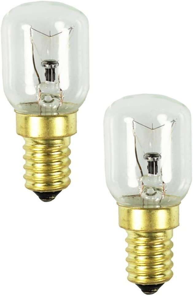 com-four® 2x horno de luz hasta 300 grados, transparente, bombilla de cocina 25W, E14, SES, 230V, EEK = E - [Clase de energía E] (02 piezas - 25W oro)