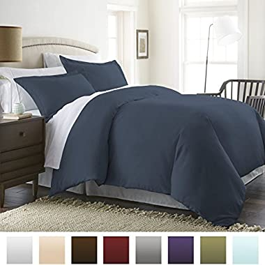 Beckham Hotel Collection Luxury Soft Brushed 1800 Series Microfiber Duvet Cover Set - Hypoallergenic - Full/Queen, Navy Blue