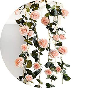 vibe-pleasure 180cm Artificial Rose Flower Ivy Vine Wedding Decor Real Touch Silk Flowers String with Leaves for Home Hanging Garland Decor 117