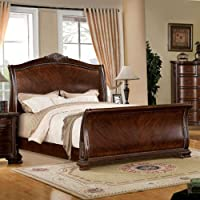 247SHOPATHOME Idf-7270CK Sleigh-Beds, California King, Cherry