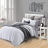 Superior Riverton 100% Cotton Duvet Cover Set with 2 Pillow Shams, Stripe Duvet Cover with Crocheted Lace Trim and Chambray Details - Twin/Twin XL Size