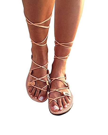 classic fit wide varieties great deals Fashare Womens Knee High Gladiator Sandals Lace Up Strappy Flat Shoes