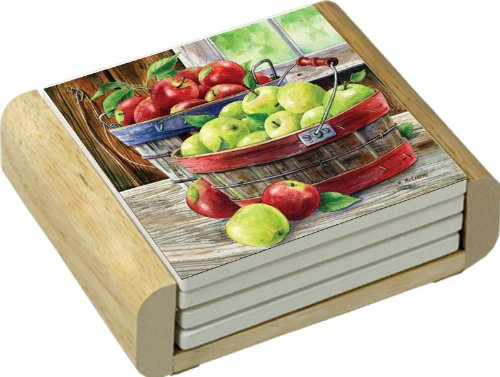 Absorbent Coasters in Wooden Holder, Set of 4