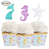 Mermaid Cupcake Toppers & Wrappers Mermaid Party Favor Supplies for Mermaid Under the Sea Theme Party Cake Decorations 48 Pack