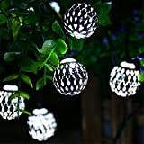 Recesky Battery Operated String Lights with Timer 40 LED 22.5ft Globe Lantern Decor Lighting for Outdoor Indoor Garden Yard Home House Party Wreath Garland Xmas Christmas Tree Decorations - White