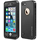 Eonfine iPhone 5 Full Sealed Shockproof Case With Touch ID Heavy Duty Protective Case Cover For iPhone 5 5s Black