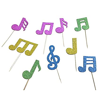 Joinor 36pcs Super Glitter Music Symbols Cupcake Muffin Topper Picks Cake  Decoration Baby Shower Birthday Party Favors