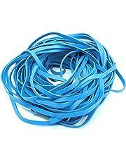 "Garbage Trash Can Rubber Bands Blue Large Size 17"" Inch Rubberbands for Kitchen Compactor Tote Bin 55-65 Gallon for 95, 96-100 Gal Toter. Oversize Big Bag Liner Holder, 55 Drums Litter Pails (1 LB)"