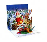 3D Greeting Card - ROOFTOP SANTA - Christmas