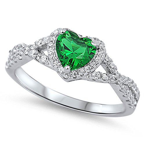 Simulated Emerald Infinity Knot Heart Promise Ring .925 Sterling Silver Band Size ()