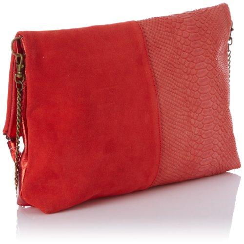 Sous les Pavés Pina Colada - Bolso tipo baguette para mujer, color beige, talla talla única Rojo (Rouge (Rouge/Metal Vermillon/Feu))