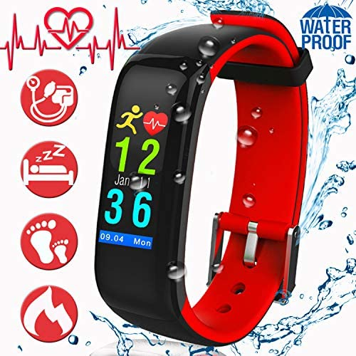 Upgrade Fitness Watch Smart Tracker Waterproof Watch with Heart Rate Monitor Men Women Blood Pressure Watch Outdoor Activity Sport Watch Step Calorie Female Function Smart Wristband Electronic Gifts