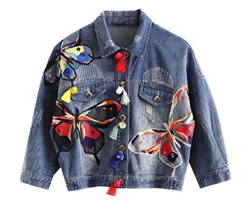 Coolred-Women Fringe Long-Sleeve Embroidered Button Down Jean Coat Blue L Denim Fringe Jacket