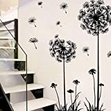 Black Pvc Dandelion Flower Plant Tree Large Removable Home Wall Decal Sticker