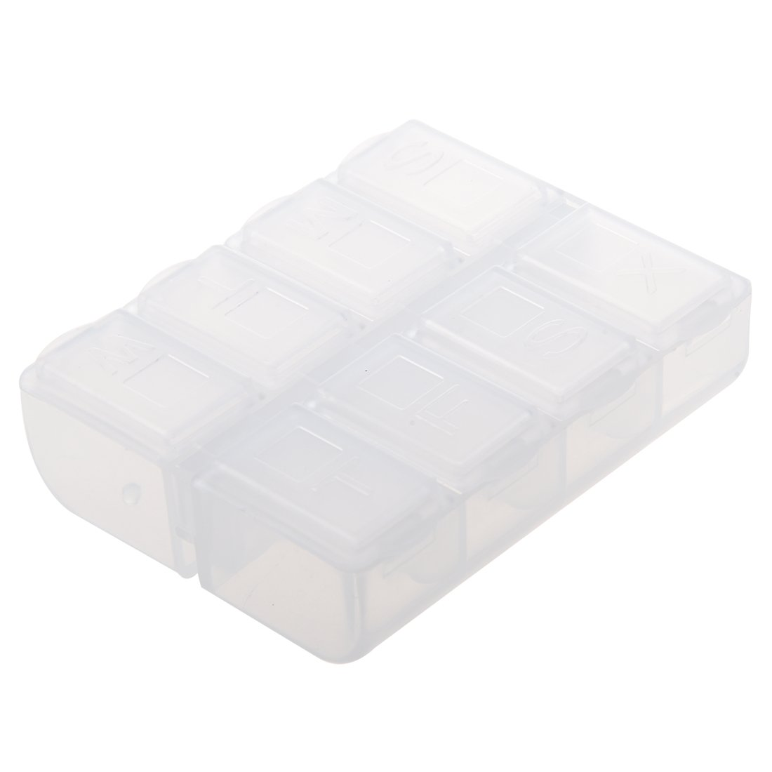 SODIAL(R) Plastic Weekly Pill Box Medicine Holder Clear White