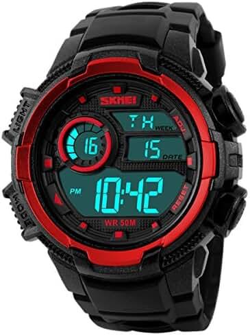 Panegy Outdoor Waterproof Boys Girls Cool Sport Digital Alarm Stopwatch Chronograph Wrist Watch Gift Display - Red