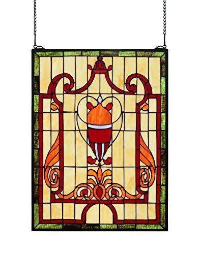 (Yogoart Stained Glass Window Panels Tiffany Style Glass Transom Window Hanging 18