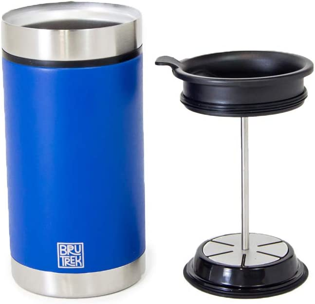 Bru-Stop Technology No Grinds in Coffee 20 oz Stainless Steel with Non-Slip Texture Cup BruTrek Steel Toe French Press Coffee Travel Mug Mountain Lake Blue