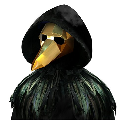 L'vow Gothic Feather Cape Long Cloak Plague Beak Mask Halloween Cosplay Costume Kits (Gold and Black) -