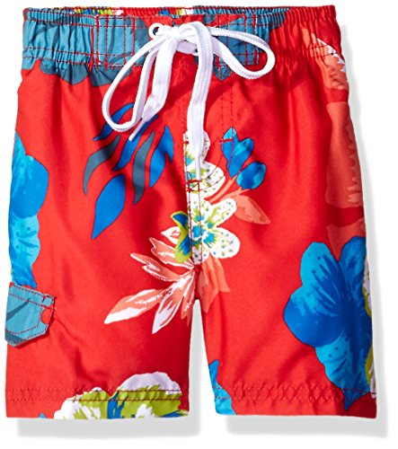 Kanu Surf Big Boys' Papagayo Floral Swim Trunk, Red, Large (14/16) ()