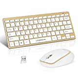 Loreran Ultra-Thin 2.4G Wireless Keyboard and Mouse Combo with Scissor Mechanism Keycap and Nano Receiver for PC Laptop MacBook Smart TV Tablet (Gold)