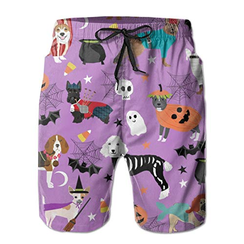 Dogs in Halloween Costumes - Dog Breeds Dressed Up Fabric - Purple_1024Men's Summer Beach Shorts,XL -