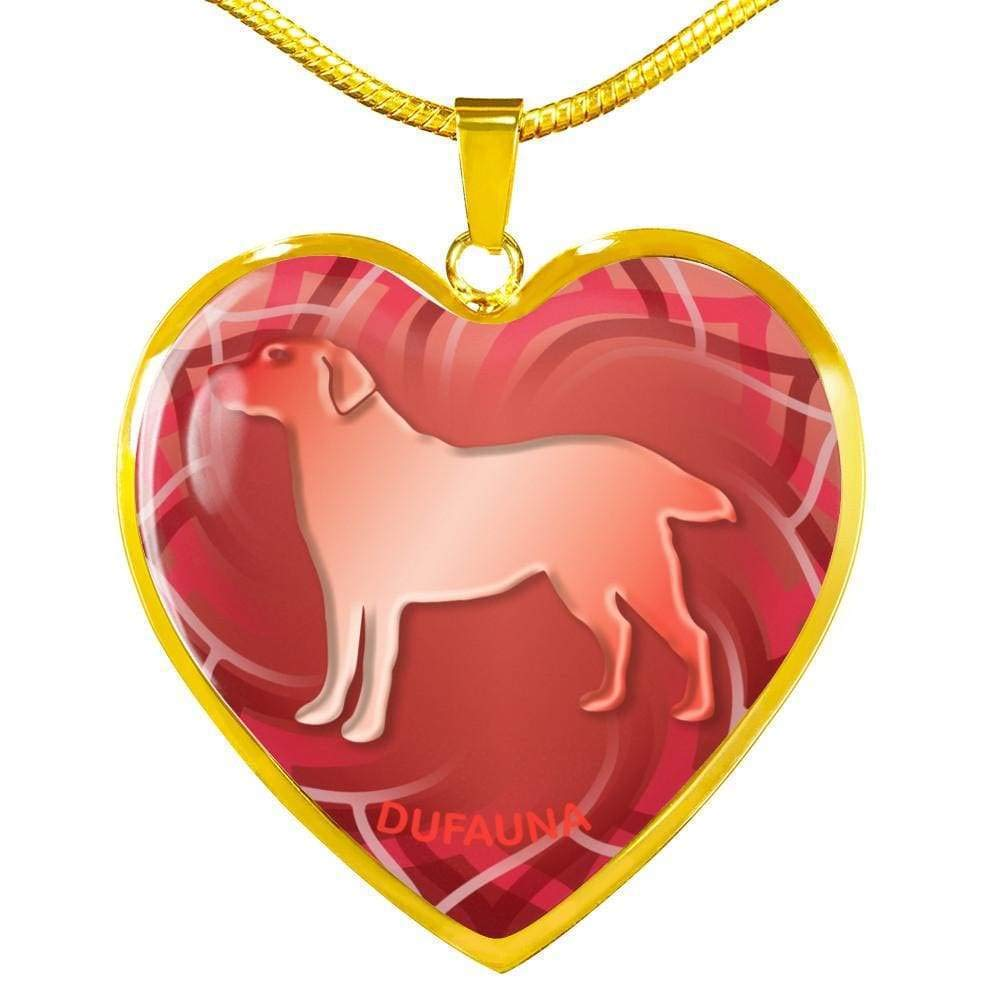 18-22 Steel or 18k Gold Finish DuFauna Red Labrador Silhouette Heart Necklace D17 Many Colors