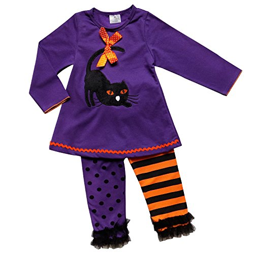 So Sydney Girls Halloween Pumpkin, Candy, or Ghost - 2 Piece Ruffle Pants Outfit (XS (2T), Purple Cat)]()