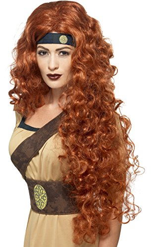 Long Warrior Medieval Costumes Wig (Smiffy's Extra Long and Curly Auburn Wig, One Size, Medieval Warrior Queen Wig, 43660)