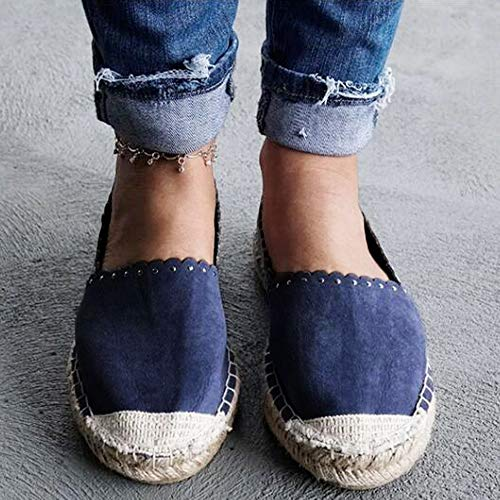 Straw Flat Ladies Stitched Blue Shoes Multi Casual Diamond Comfort Shoes Bottomed FALAIDUO Color Lazy Shoes Fisherman v1qn8qB