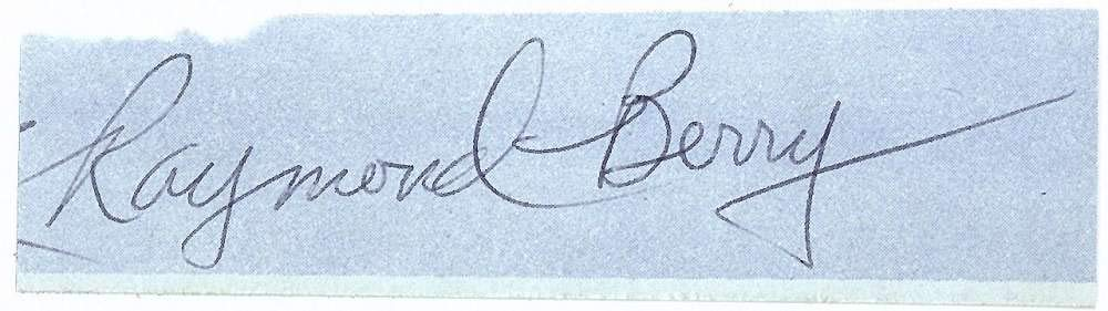 Raymond Berry Signed Autographed 1x4 Vintage Cut Signature Beckett BAS