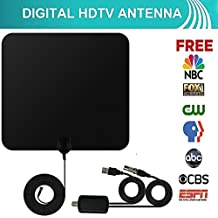 Indoor HD Digital TV Antenna Kit, 50 Mile Long Range Detachable HDTV Amplifier Adjustable Signal Booster 13.5ft Coaxial Cable USB Adapter, Support UHF VHF 1080P 4K Smart Television, Version 2018 Black