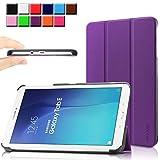 Samsung Galaxy Tab E 9.6 case - Infiland Ultra Slim Tri-Fold Case Cover for Samsung Tab E / Tab E Nook 9.6-Inch Tablet (SM-T560 / T561 / T565 / SM-T567V Verizon 4G LTE) (Tab E 9.6 Inch, Purple)