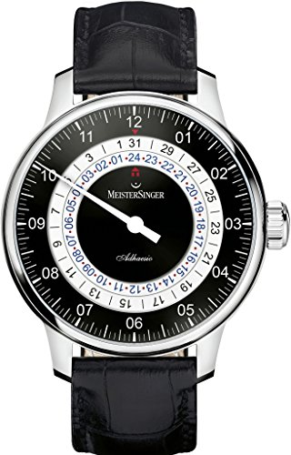 MeisterSinger Adhaesio Mens Single-Hand Automatic Dual Time Watch - 43mm Analog Black Face Unique Watch with Sapphire Crystal - Black Leather Band Swiss Made Second Time Zone Watch for Men AD902
