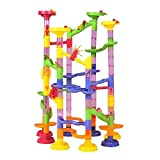 Marble Run Coaster Maze Toy - HANMUN DIY 105 Piece Super Marble Deluxe Race Game Set Learning Railway Construction Toys Building Blocks for Kids