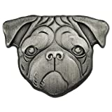 PinMart's Silver 3D Pug Dog Breed Dog Lover Lapel Pin