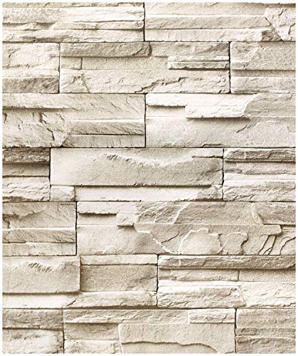 HaokHome 13991 Faux Stacked Stone Peel and Stick Wallpaper 17.7
