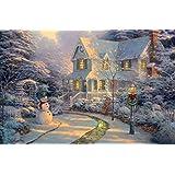 infactory weihnachtsbilder wandbild winterdorf mit led. Black Bedroom Furniture Sets. Home Design Ideas