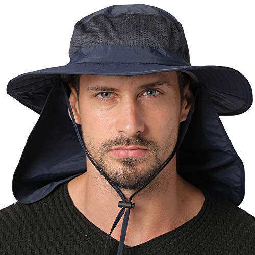 Jormatt Outdoor Fishing Sun Hat Waterproof UV Protection Wide Brim Sun Hat with Flap Neck Cover Mesh Breathable Foldable Safari Cap Unisex UPF 50+,Navy Blue
