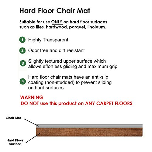 Chair Mat for Hard Floors - 48'' x 80'' | Clear, Multi-Purpose Floor Protector | Office Chair Mat for Hardwood Floor | Many Sizes Available by casa pura (Image #2)
