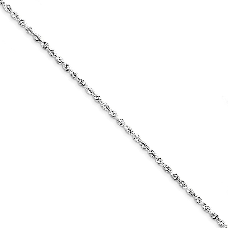 Royローズジュエリー10 Kホワイトゴールド3 mmダイヤモンドカットQuadrupleロープチェーン~長: 8インチ B076P4SWBS