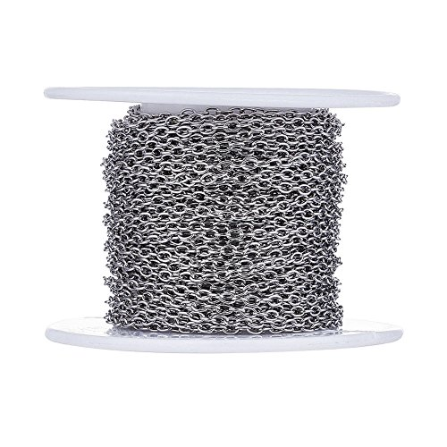 Kissitty 32.8 Feet/10 Meters Stainless Steel Unwelded Cross Chains 3x2x0.5mm Link Cable Chains with Spool for DIY Jewelry Making