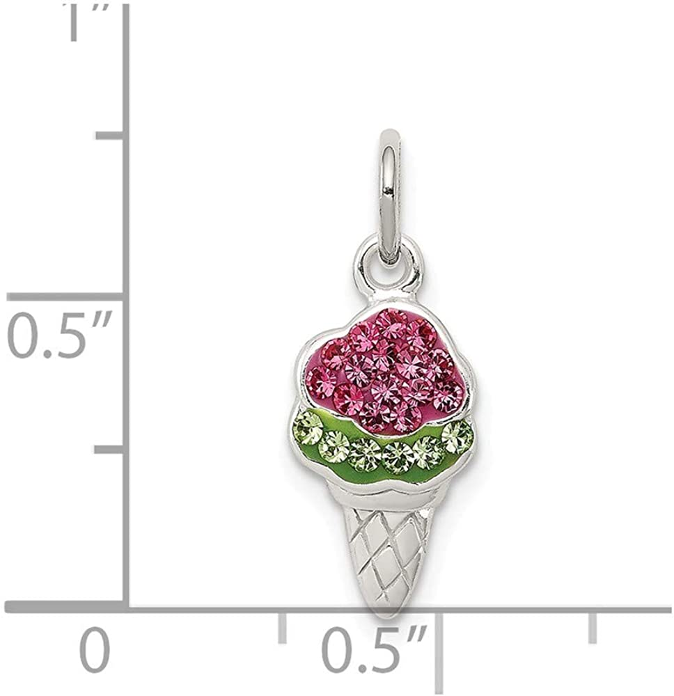 Solid 925 Sterling Silver Pink and Green Stellux Crystal Ice Cream 7mm x 20mm